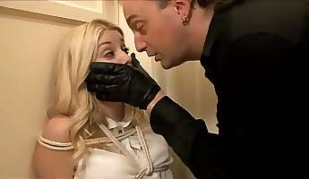 Adorable blonde hottie submits to crazy restrain bondage and harsh male domination